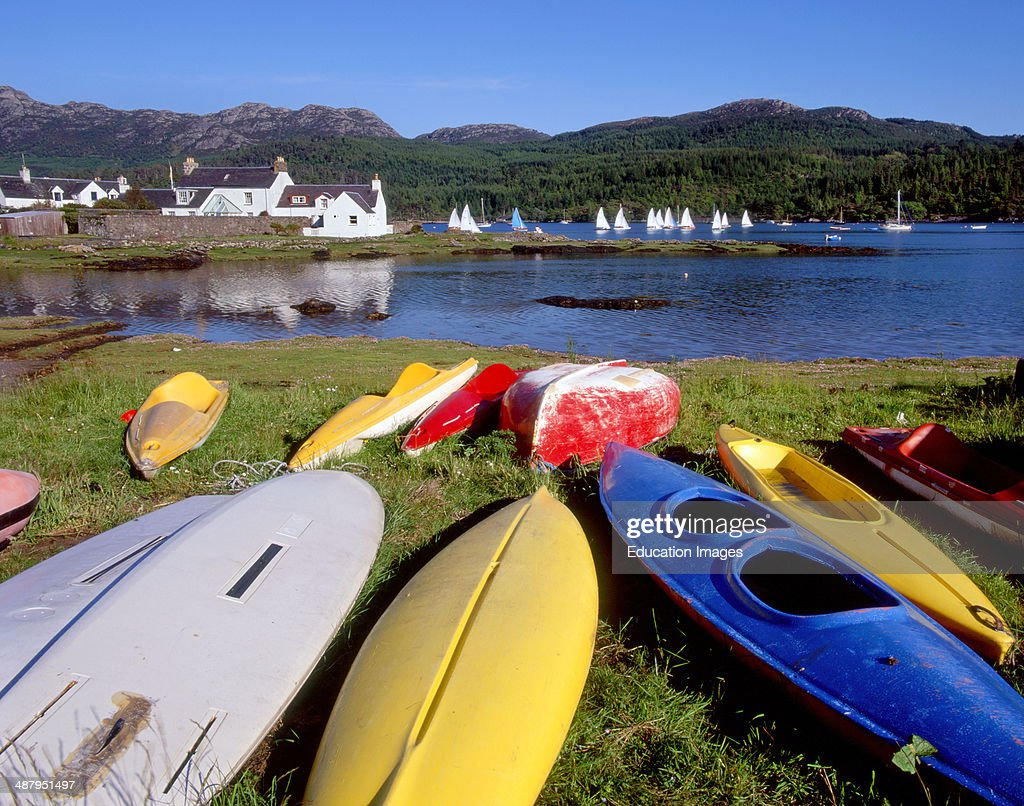 Canoes On The Shore In Plockton Loch Carraon North West Highlands