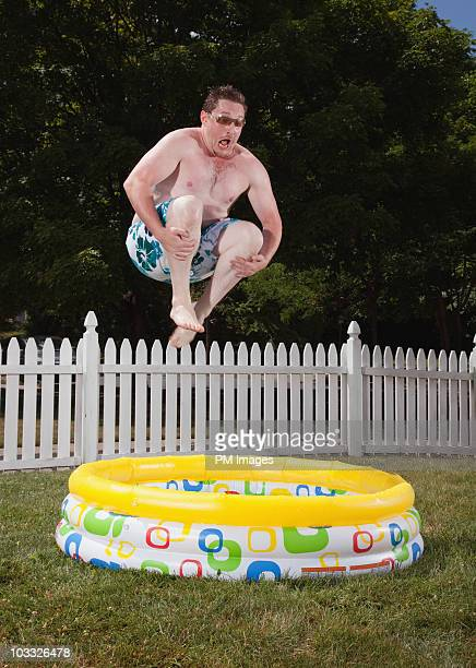 Canon ball into kiddie pool