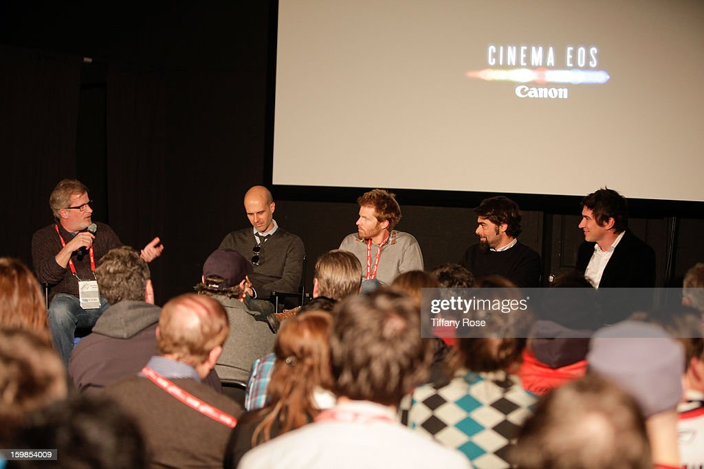Canon Film and Television Advisor Tim Smith, Director Edoardo Ponti, Cinematagraphers Alex Buonu, Andre Lascaris and Peter Simonite attend the Canon Workshop in Park City on January 21, 2013 in Park City, Utah.