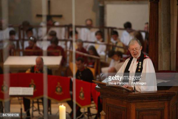 Canon Roger Devonshire who served for 24 years as a naval chaplain and was on board HMS Hermes during the conflict addresses the congregation at a...