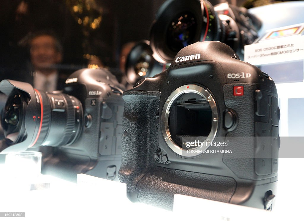 Canon's new SLR EOS D1-C DLSR Camera with 4K video recording (R) and D1-X SLR camera (L) are displayed during the CP+, (CP plus) photo imaging show in Yokohama on January 31, 2013. Around 96 companies are participating in the exhibition with some 70,000 visitors expected in the four-day-long event.