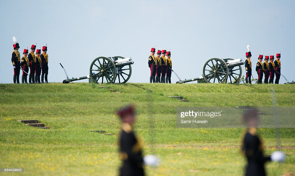Canons on display at the Royal Review of The Royal Artillery on the occasion of their Tercentenary at Knighton Down on May 26, 2016 in Lark Hill, England.