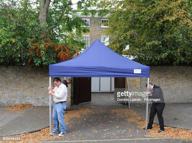 A canopy is erected outside the home of Sir Paul McCartney in St John's Wood north London as preparations take place ahead of his wedding to US...