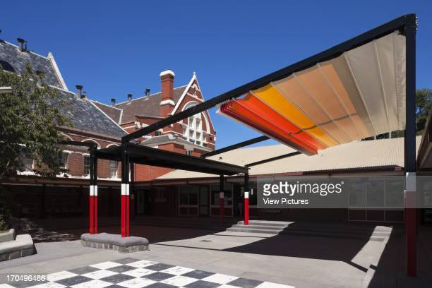 Canopy partially retracted SKIPPS Shade Structure St Kilda Park Primary School Melbourne Australia Architect Grant Amon Architects Nervegna Reed...