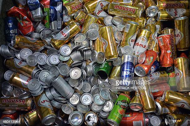 Cans of beer are seen at the Kronenbourg brewery on December 12 2014 in Obernai eastern France AFP PHOTO / PATRICK HERTZOG