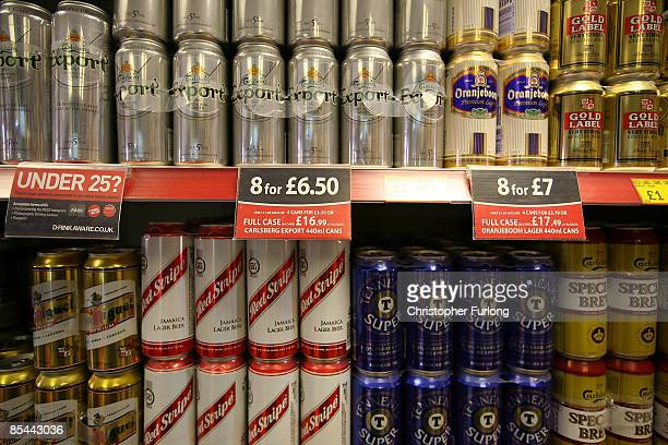 Cans of beer line the shelves in an off licence on March 16 2009 in Knutsford England Sir Liam Donaldson the Chief Medical Officer for England has...