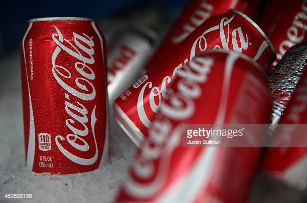 Cans of Coca Cola are displayed in a food truck's cooler on July 22 2014 in San Francisco California The San Francisco Board of Supervisors will vote...