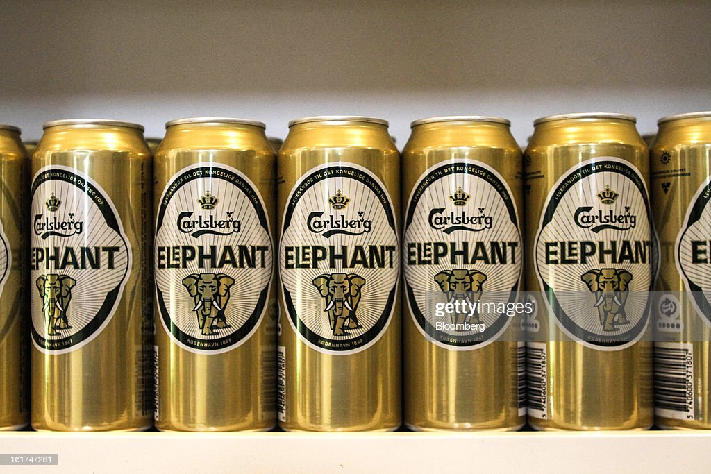 Cans of Elephant brand beer stand on display at the company's store at the headquarters of Carlsberg A/S in Copenhagen, Denmark, on Thursday, Feb. 14, 2013. Danish brewer Carlsberg A/S owns France's biggest beer brand Kronenbourg. Photographer: Freya Ingrid Morales/Bloomberg via Getty Images
