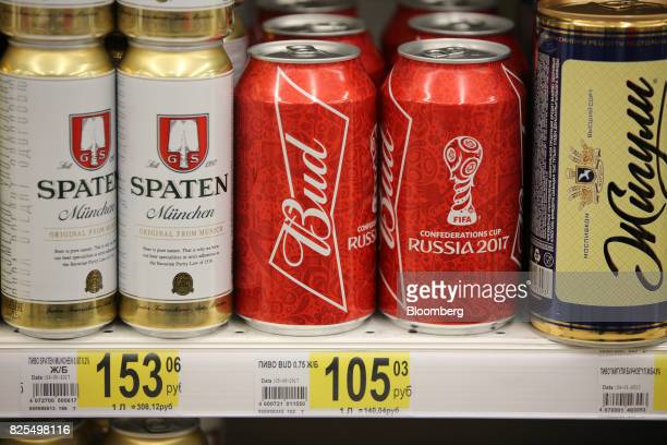 Cans of foreign beer including SpatenFranziskanerBraeu GmbH and Russia 2017 Confederations Cup branded Bud manufactured by BudweiserBusch...