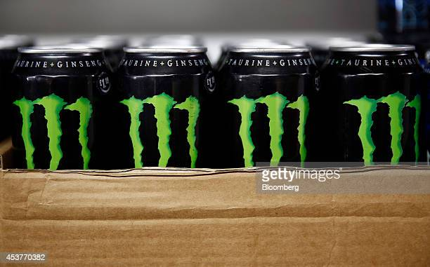 Cans of Monster Beverage Corp energy drink sit for sale in a newsagent's store in this arranged photograph in London UK on Friday Aug 15 2014...