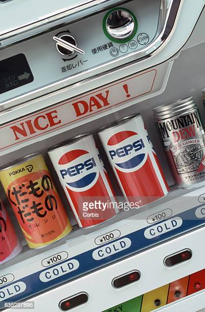 Cans of Pepsi in Japanese Vending Machine