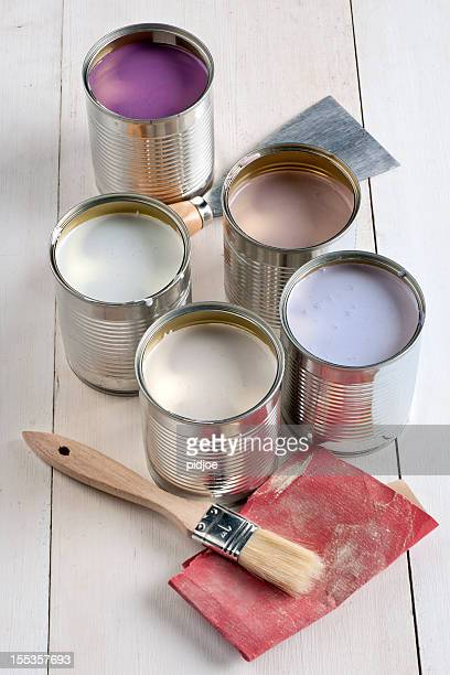 cans with pink, purple, white and lavender paint