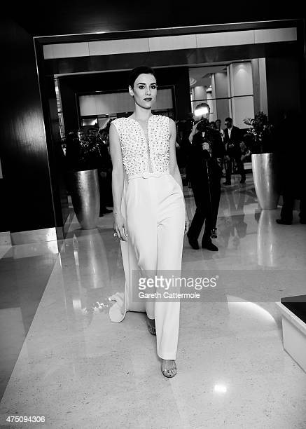 Cansu Dere departs the Martinez Hotel during the 68th annual Cannes Film Festival on May 18 2015 in Cannes France