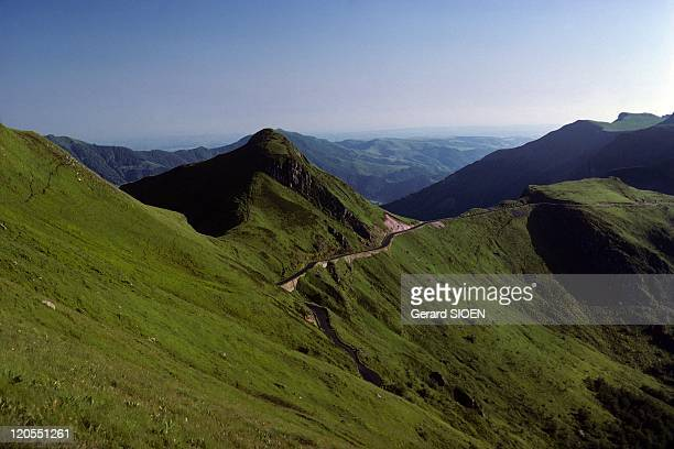 Cantal Mountains Road To the Puy Mary Auvergne in France Cantal mountains in the regional natural park of Auvergne volcanoes road to the Puy Mary the...