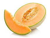 cantaloupe melon with a slice isolated on white background