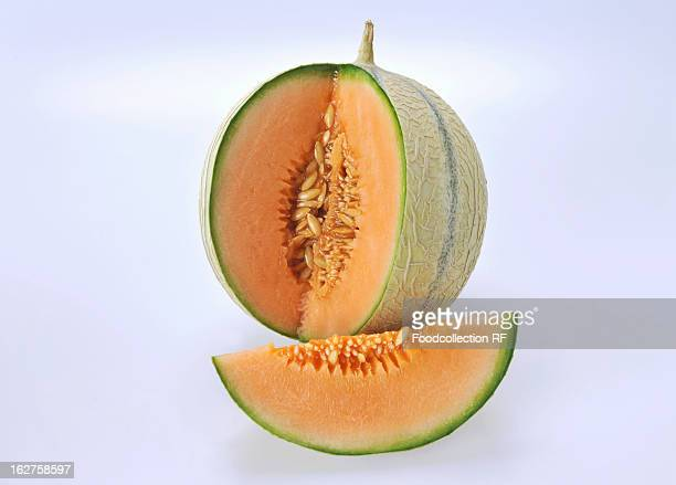 Cantaloupe melon with section removed