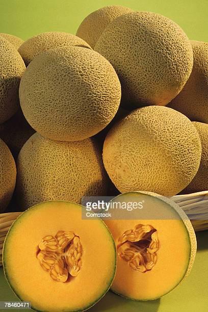 Cantaloupes on wicker tray