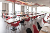 Canteen, cafeteria, hotel restaurant blur background with blurry dining table and chair in school or university food facility interior empty hall