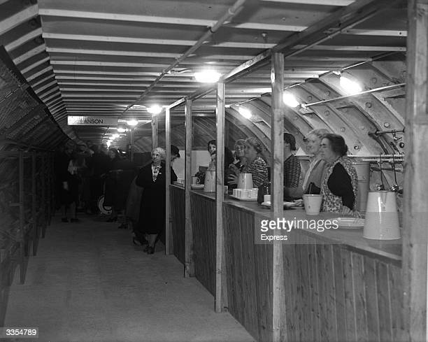 A canteen in an 'Anson' shelter in the London Underground