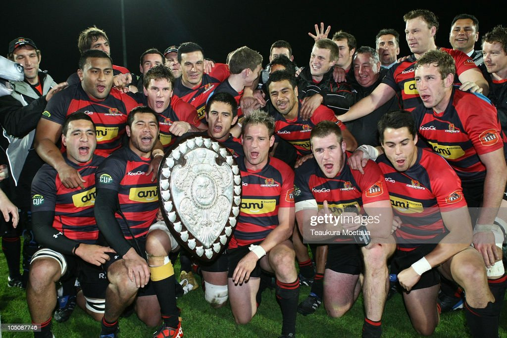 Canterbury Celebrate winning the Ranfurly Shield after the round 11 ITM Cup match between Southland and Canterbury at Rugby Park on October 9 2010 in...