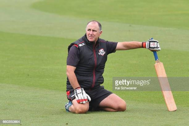 Canterbury coach Gary Stead looks on prior to the Plunket Shield match between Canterbury and Wellington on March 30 2017 in Christchurch New Zealand