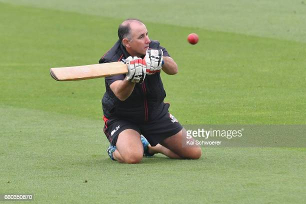 Canterbury coach Gary Stead warms up prior to the Plunket Shield match between Canterbury and Wellington on March 30 2017 in Christchurch New Zealand