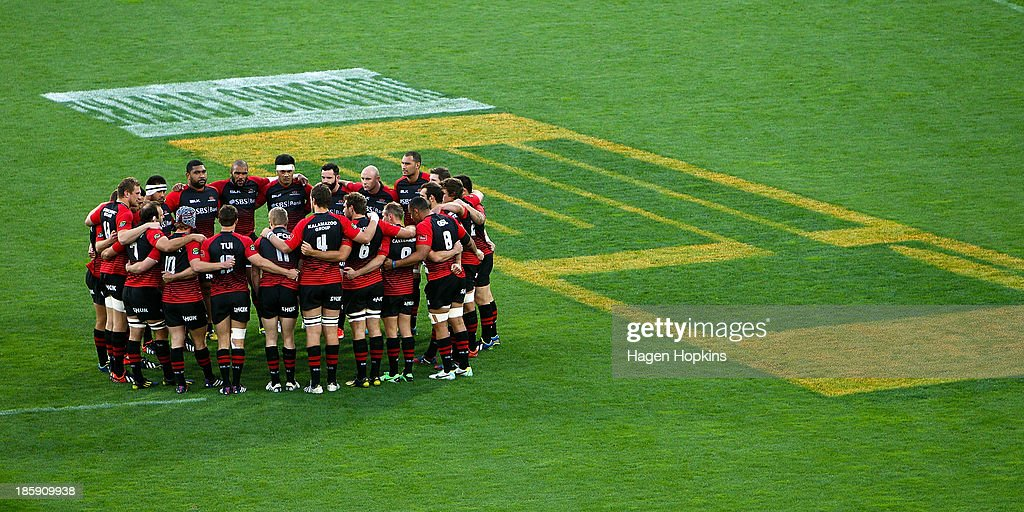 Canterbury form a team huddle during the ITM Cup Premiership Final match between Wellington and Canterbury at Westpac Stadium on October 26, 2013 in Wellington, New Zealand.