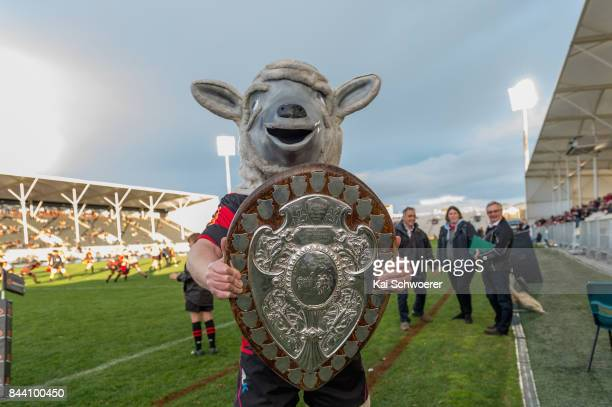 Canterbury mascot Larry the Lamb poses with the Ranfurly Shield prior to the Ranfurly Shield round four Mitre 10 Cup match between Canterbury and...