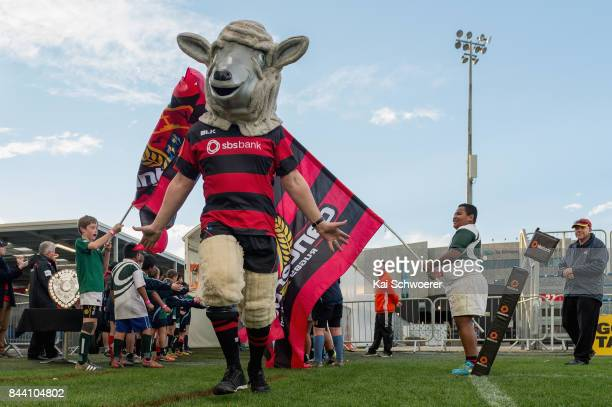 Canterbury mascot Larry the Lamb runs out prior to the Ranfurly Shield round four Mitre 10 Cup match between Canterbury and Southland on September 8...