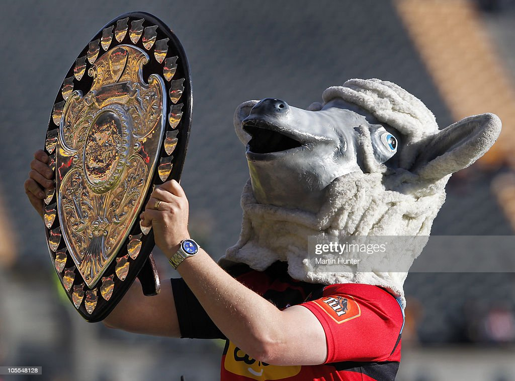 Canterbury mascot Larry the Lamb shows off the Ranfurly Shield at the start of the round 12 ITM Cup match between Canterbury and Counties Manukau at...