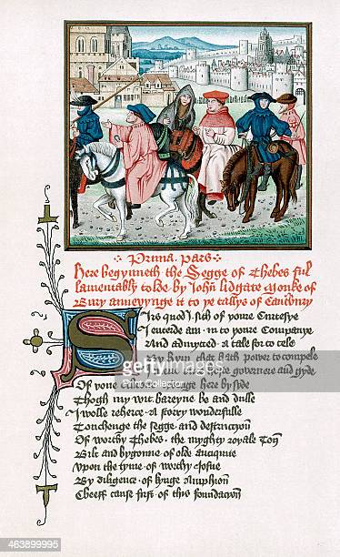 Canterbury pilgrims c1420 From John Lydgate's Story of Thebes written c1420 and designed as an addition to Chaucer's Canterbury Tales