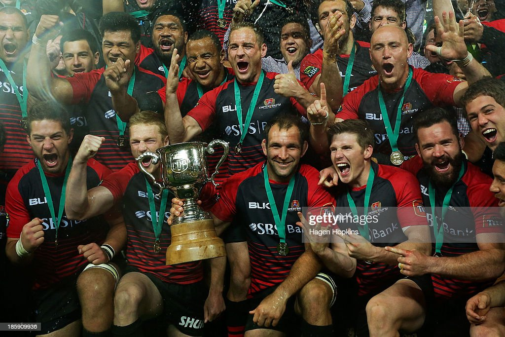Canterbury players celebrate after winning the ITM Cup Premiership Final match between Wellington and Canterbury at Westpac Stadium on October 26, 2013 in Wellington, New Zealand.