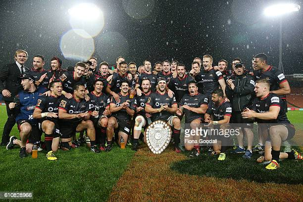 Canterbury win the Ranfurly Shield during the round seven Mitre 10 Cup match between Waikato and Canterbury on September 28 2016 in Hamilton New...
