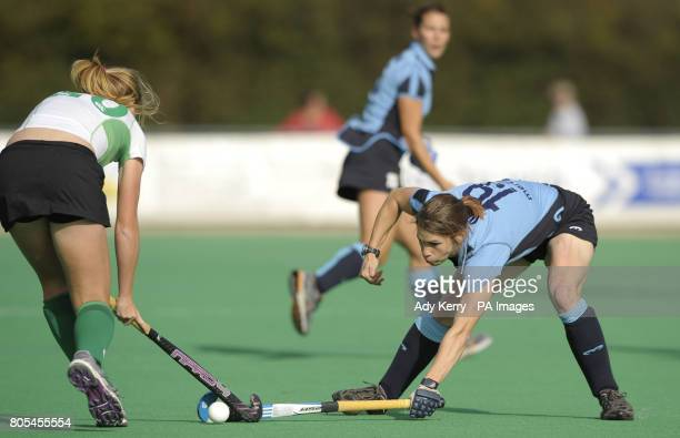 Canterbury's Lucy Hyams is tacked by Reading's Rebecca Odlin during their EHL Premier League game at Polo Farm Canterbury Kent