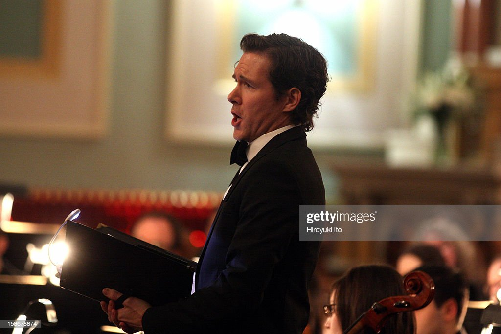 Canticum Novum Singers and the Artemis Chamber Ensemble in Bach's 'Christmas Oratorio' at the Church of St. Jean Baptiste on Friday night, December 14, 2012.This image:The tenor Tommy Wazelle.