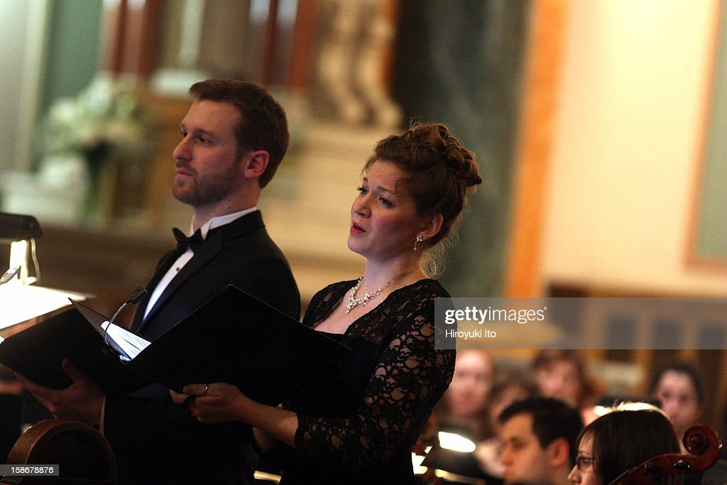 Canticum Novum Singers and the Artemis Chamber Ensemble in Bach's 'Christmas Oratorio' at the Church of St. Jean Baptiste on Friday night, December 14, 2012.This image:The baritone Jesse Blumberg and the soprano Katherine Wessinger.
