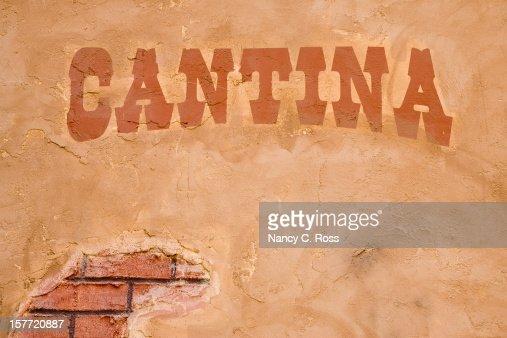Cantina Sign Outside Bar, Brick Stucco Wall, Rustic, Cinco-de-Mayo