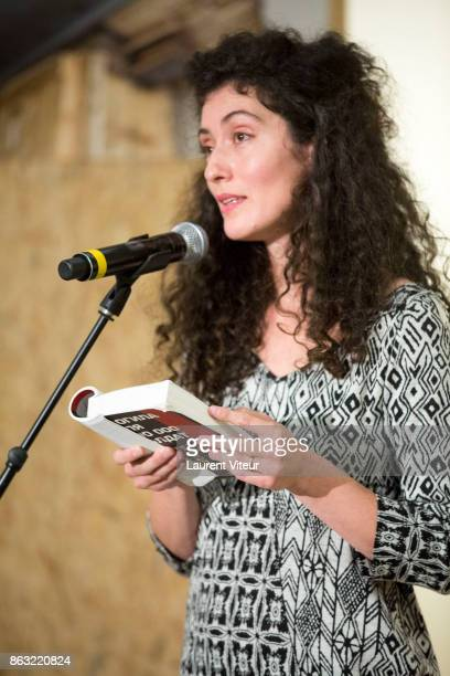 Cantor Sofia Falkovitch reads 'Tombeau pour Cinq Cent Mille Soldats' for 50th anniversary of the book at Azzedine Alaia Gallery on October 19 2017 in...