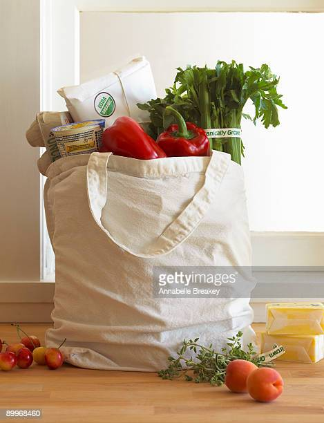 Canvas bag of organic groceries