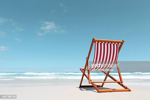 Canvas deck chair on a beach. Australia.