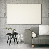 Empty canvas in living room