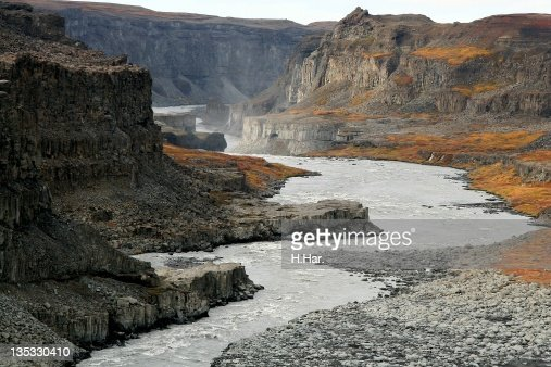 Canyons below Dettifoss in Iceland