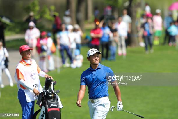 Cao Yi of China looks on after plays a shot during the third round of the 2017 Volvo China open at Topwin Golf and Country Club on April 29 2017 in...