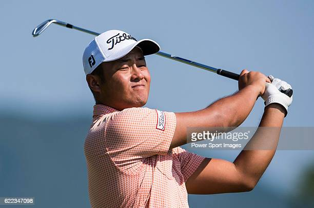 Cao Yi of China takes his shot during the Clearwater Bay Open as part of the PGA Tour China at the The Clearwater Bay Golf Country Club on 04...