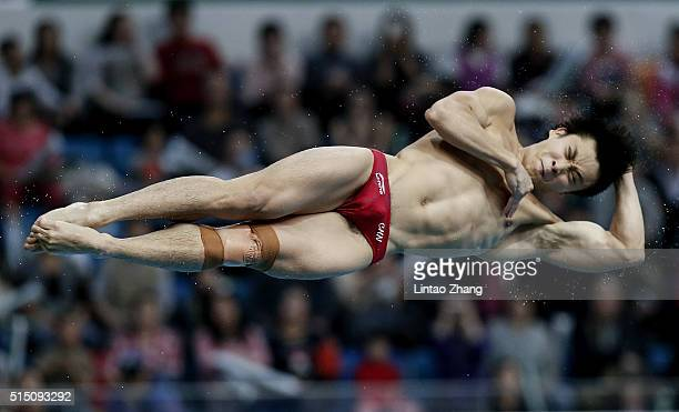 Cao Yuan of China compete in the Men's 3m Springboard Final during day two of the FINA/NVC Diving World Series 2016 Beijing Station at the National...