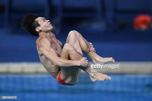Cao Yuan of China competes in the Men's Diving 3m Springboard match of Rio 2016 Olympic Games at the Maria Lenk Aquatics Centre on August 16 2016 in...