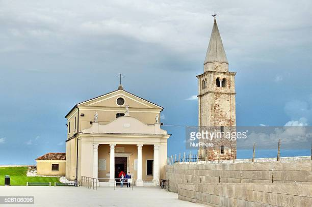 Caorle Veneto Italy May 2014 Church of Blessed Virgin of Angel Caorle Italy with the view along the Adriatic coast