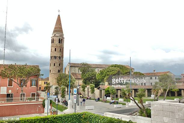 Caorle Veneto Italy May 2014 Madonna dell Angelo church with the tower bell in the historic centre of the town Caorle at the Adriatic sea coast