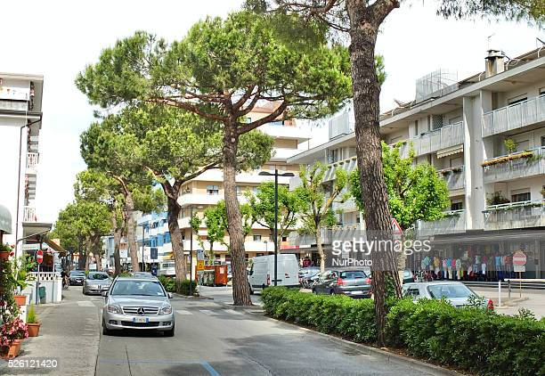 Caorle Veneto Italy May 2014 Mercedes car is parked along the street in the Italian resort of Caorle