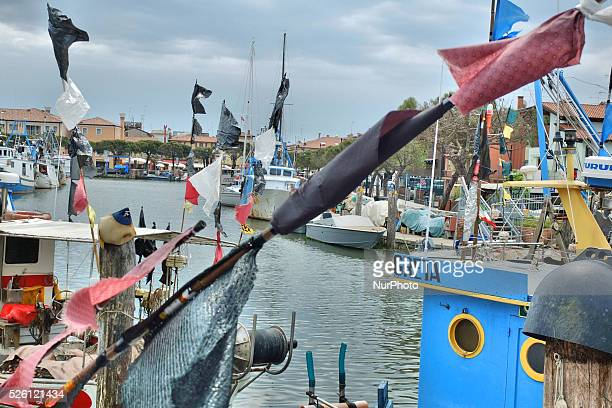 Caorle Veneto Italy May 2014 Port view in the Caorle Italy Ships and fishing boat sit at the port
